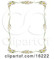 Stationery Border Of White Daisy Flowers With Yellow Centers Framing A White Background