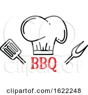 Bbq Design With A Chef Hat Spatula And Fork by Vector Tradition SM