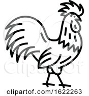 Black And White Rooster Poultry Icon by Vector Tradition SM