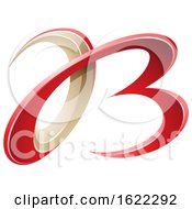 Red And Beige 3d Curly Letters A And B