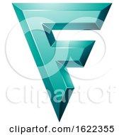 Persian Green Geometric Letter F