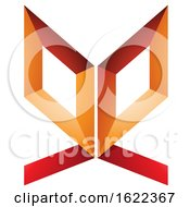 Red And Orange Double Sided Butterfly Like Letter F
