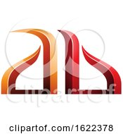 Red And Orange Bow Like Embossed Letters A And B