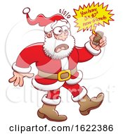 Cartoon Santa Claus Looking At His Cell Phone And Seeing Lots Of New Friends On Social Media