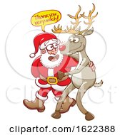 Cartoon Santa Claus Thanking Rudolph The Red Nosed Reindeer
