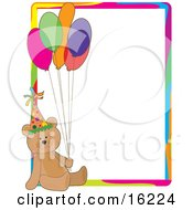 Cute Teddy Bear Wearing A Party Hat And Holding Onto A Bunch Of Colorful Balloons On A Birthday Party Stationery Sheet