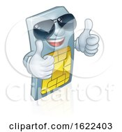 Sim Card Cool Shades Thumbs Up Cartoon Mascot