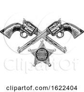 Sheriff Star Badge And Pistols by AtStockIllustration