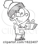 Cartoon Outline Boy Giving A Christmas Gift