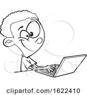 Cartoon Outline Black Boy Using A Laptop