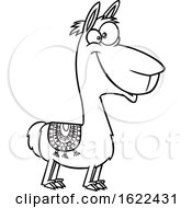 Clipart Of A Cartoon Outline Happy Llama Royalty Free Vector Illustration
