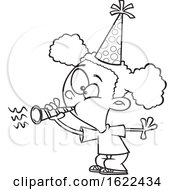 Clipart Of A Cartoon Outline Black Girl Blowing A Party Horn Royalty Free Vector Illustration