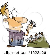 Clipart Of A Cartoon Dumb Man With A Bag Of Hammers Royalty Free Vector Illustration