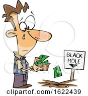 Cartoon Sad Man Pouring His Money In To A Black Hole