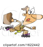 Clipart Of A Cartoon Business Man Roller Blading To Work Royalty Free Vector Illustration