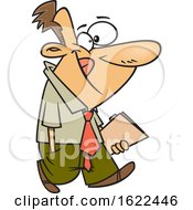 Clipart Of A Cartoon Business Man Carrying A Folder Royalty Free Vector Illustration