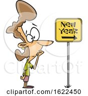 Clipart Of A Cartoon Nervous Woman Looking At A New Year Ahead Sign Royalty Free Vector Illustration