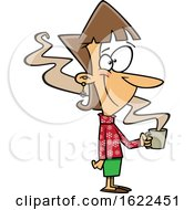 Clipart Of A Cartoon Cheerful Woman Wearing A Snowflake Sweater And Holding A Hot Coffee Royalty Free Vector Illustration