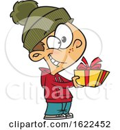 Clipart Of A Cartoon Boy Giving A Christmas Gift Royalty Free Vector Illustration