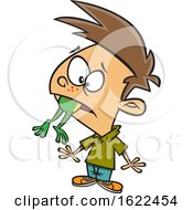 Clipart Of A Cartoon Boy With A Frog In His Throat Royalty Free Vector Illustration