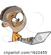 Clipart Of A Cartoon Black Boy Using A Laptop Royalty Free Vector Illustration
