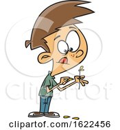 Clipart Of A Cartoon Boy Plucking Petals From A Flower Royalty Free Vector Illustration