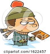 Cartoon Grumpy Boy Shoveling Snow