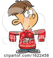 Clipart Of A Cartoon Boy Wearing A Big Rudolph Christmas Sweater Royalty Free Vector Illustration