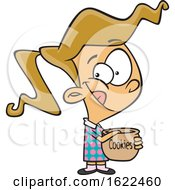 Clipart Of A Cartoon Girl Reaching In A Cookie Jar Royalty Free Vector Illustration