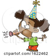 Clipart Of A Cartoon Black Girl Blowing A Party Horn Royalty Free Vector Illustration by toonaday