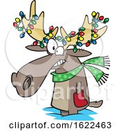 Clipart Of A Cartoon Christmas Moose With Lights Royalty Free Vector Illustration