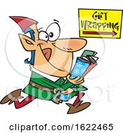 Clipart Of A Cartoon Christmas Elf Running To Wrap Gifts Royalty Free Vector Illustration