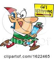 Cartoon Christmas Elf Running To Wrap Gifts