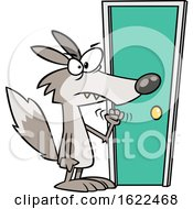 Cartoon Wolf Knocking On A Door