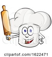Toque Chef Hat Mascot Holding A Baking Rolling Pin