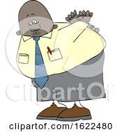 Cartoon Black Business Man Under Arrest