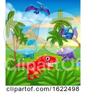 Dinosaur Cartoon Prehistoric Landscape Scene by AtStockIllustration