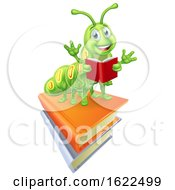 Reading Caterpillar Worm Bookworm On Books by AtStockIllustration