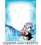 Border Of A Penguin Holding A Cake