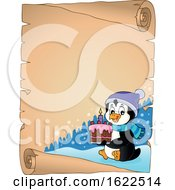Poster, Art Print Of Parchment Scroll Border Of A Penguin Holding A Cake