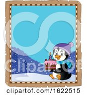 Parchment Border With Birthday Penguin Holding A Cake