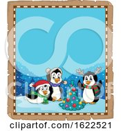 Parchment Border With Christmas Penguins