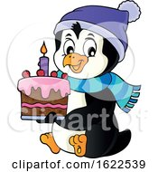Penguin Holding A Cake