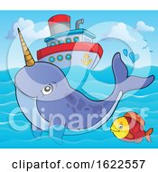 Swimming Narwhal By A Ship