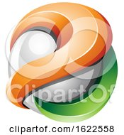 White Orange And Green 3d Sphere