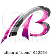 Magenta And Black 3d Flying Letters A And B