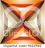 Orange And Beige 3d Square With Triangles by cidepix