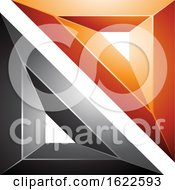 Black And Orange 3d Geometric Triangles Forming A Square by cidepix