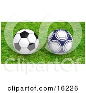 Two Soccer Balls Resting On Green Grass