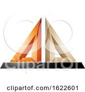 Orange And Beige 3d Pyramid